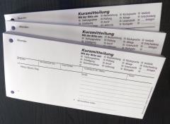 Blocks Kurzmitteilung - Kurznachricht ohne Durchschlag -