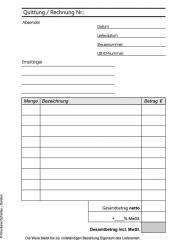 Quittung/ Rechnung  - 3-fach - DIN A6 - SD - Hochformat -
