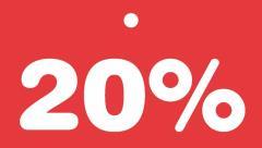 Schildchen 20 Prozent -